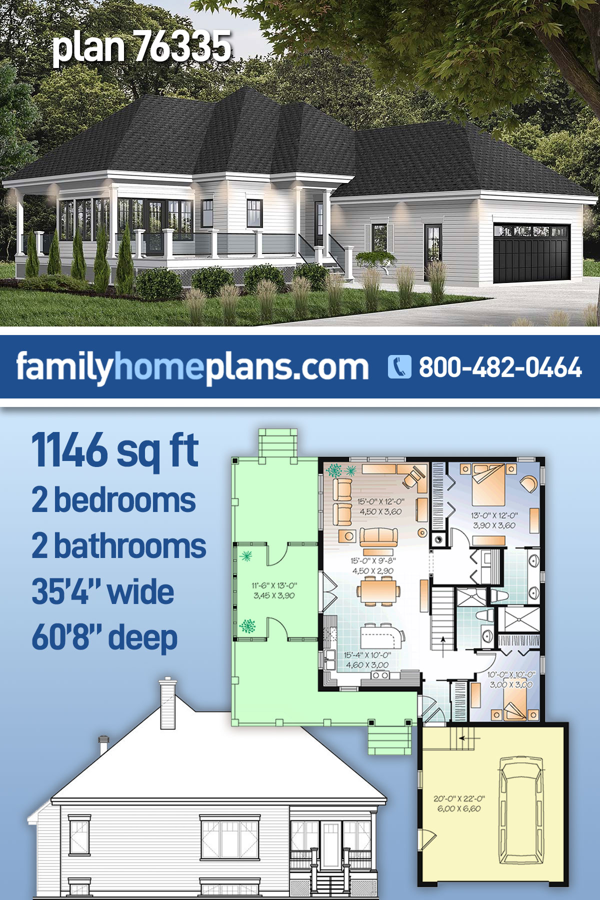 Cottage House Plan 76335 with 2 Beds, 2 Baths, 2 Car Garage