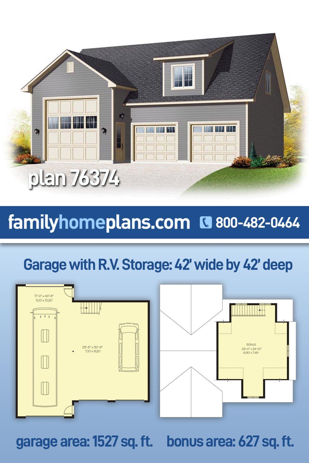 Country 3 Car Garage Apartment Plan 76374, RV Storage