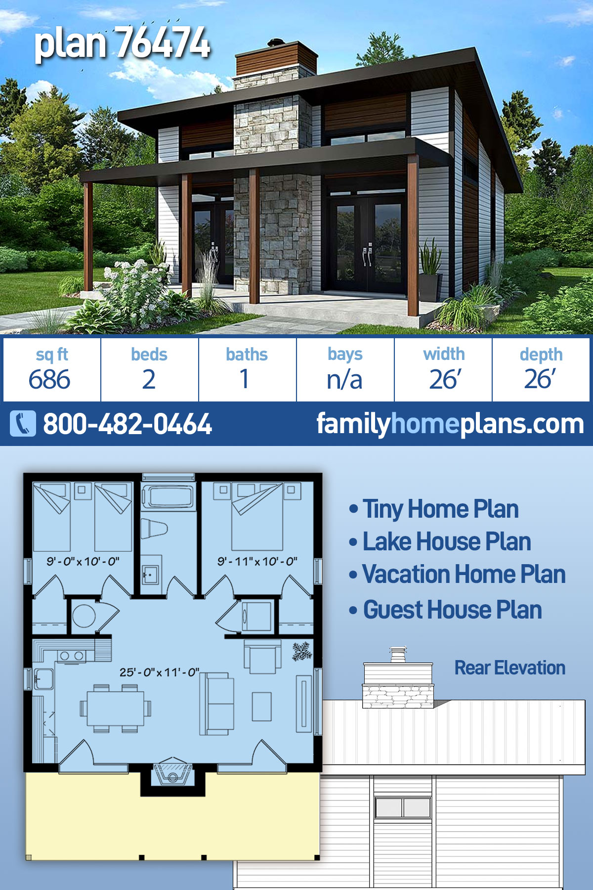 Contemporary, Modern House Plan 76474 with 2 Beds, 1 Baths
