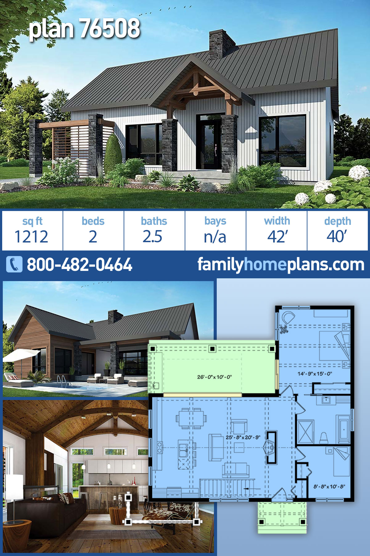 Cape Cod , Contemporary , Cottage , Country , Craftsman , Modern House Plan 76508 with 2 Beds, 1 Baths