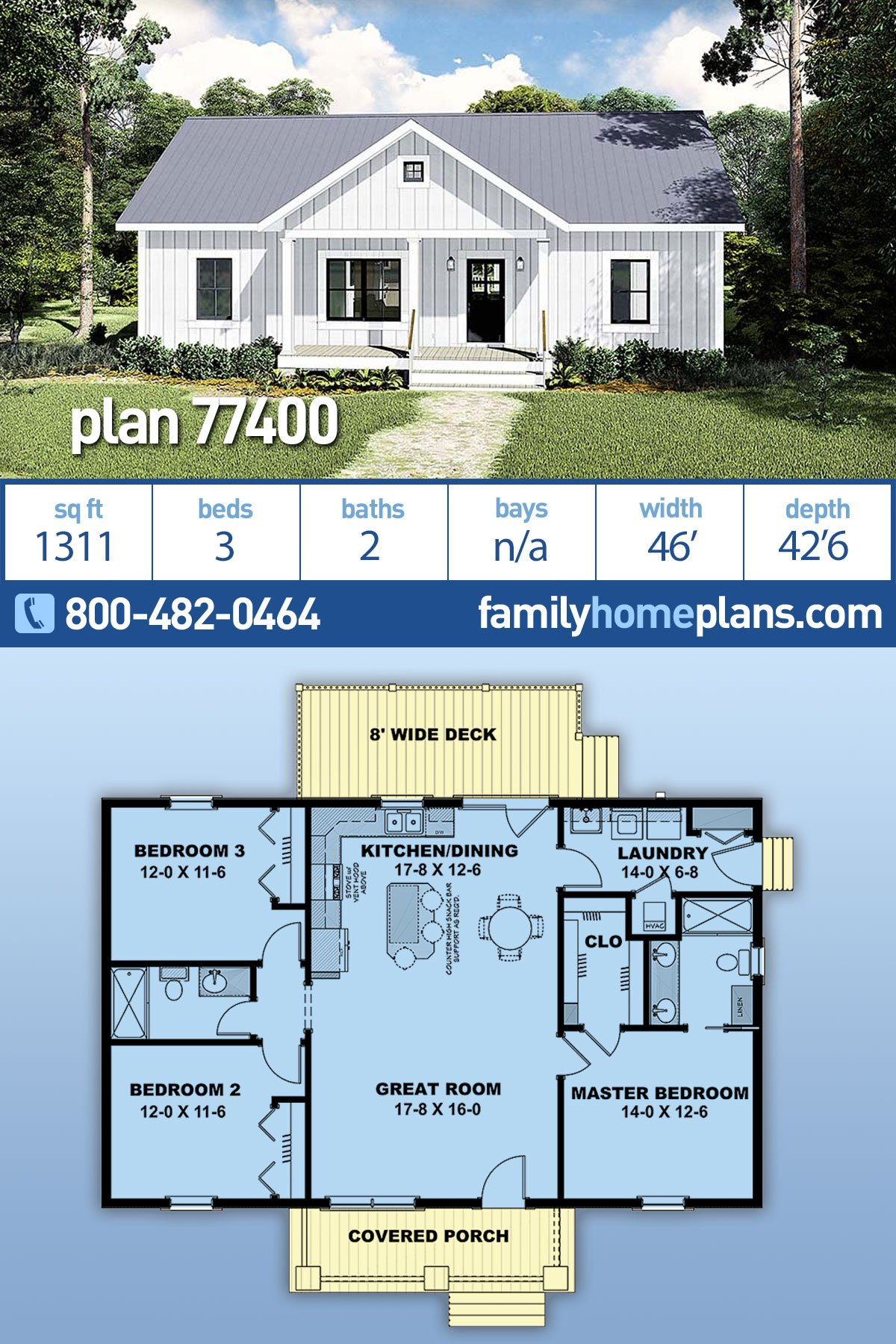 Cottage, Country House Plan 77400 with 3 Beds, 2 Baths