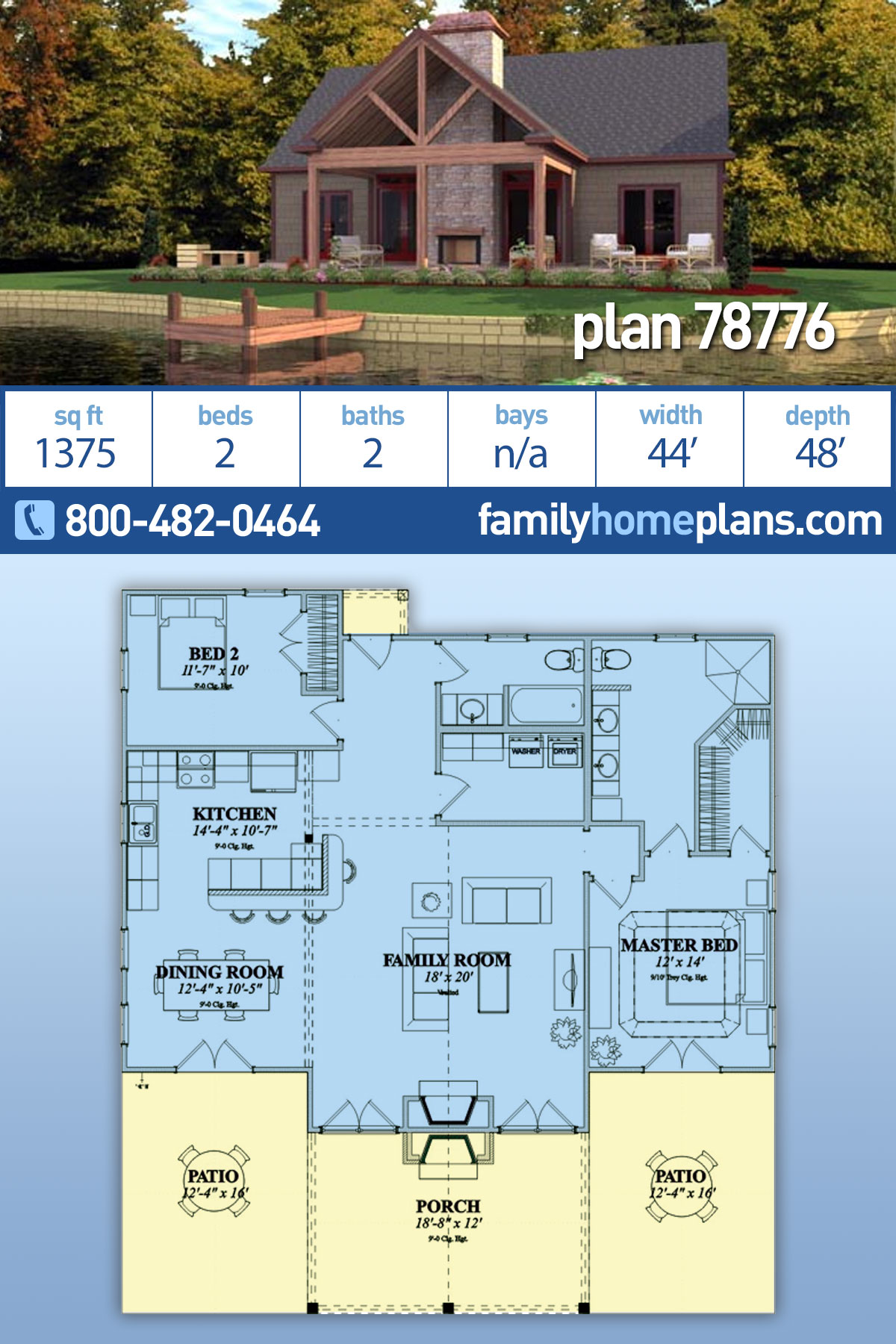 Bungalow House Plan 78776 with 2 Beds, 2 Baths
