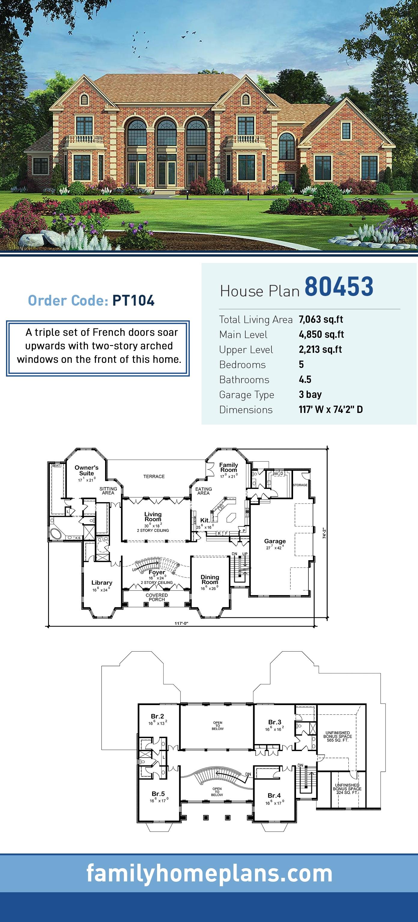 European House Plan 80453 with 5 Beds, 5 Baths, 3 Car Garage