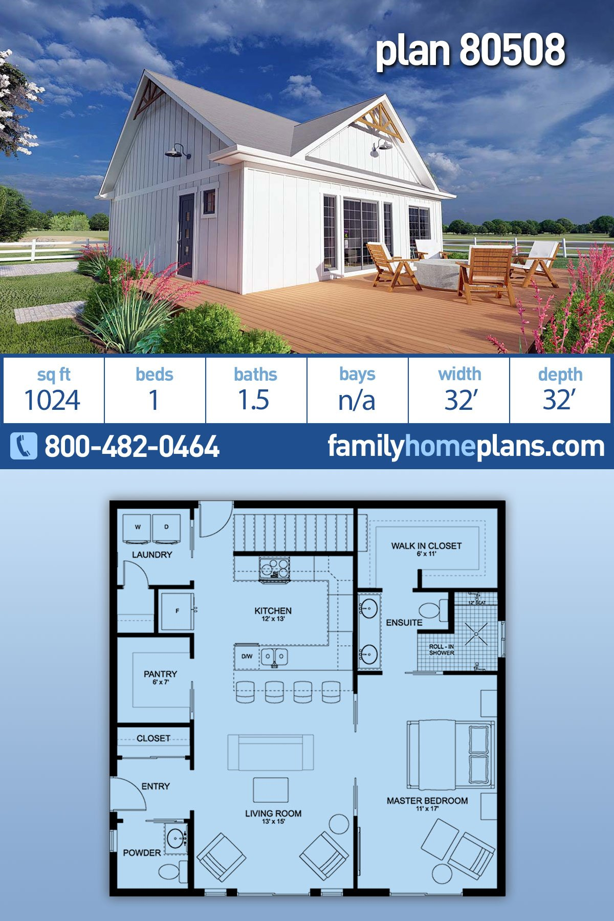 Bungalow, Cabin, Cape Cod, Contemporary, Cottage, Farmhouse, Ranch House Plan 80508 with 1 Beds, 2 Baths
