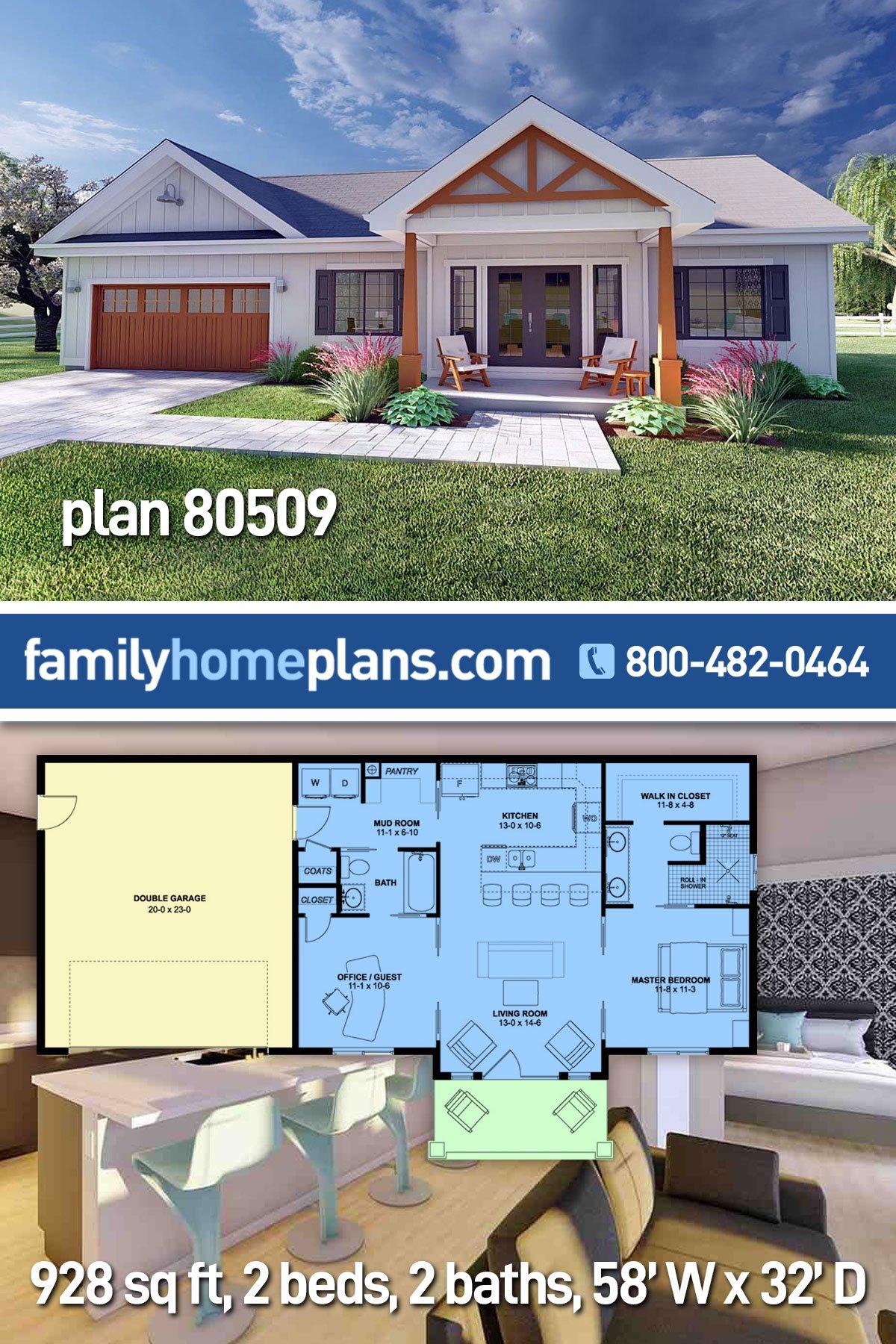 Bungalow, Cottage, Farmhouse, Ranch House Plan 80509 with 2 Beds, 2 Baths, 2 Car Garage