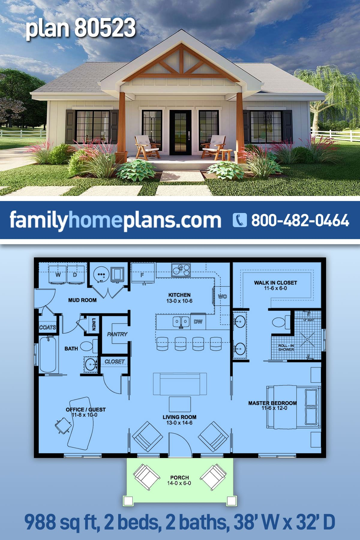Country, Craftsman, Farmhouse, Ranch House Plan 80523 with 2 Beds, 2 Baths