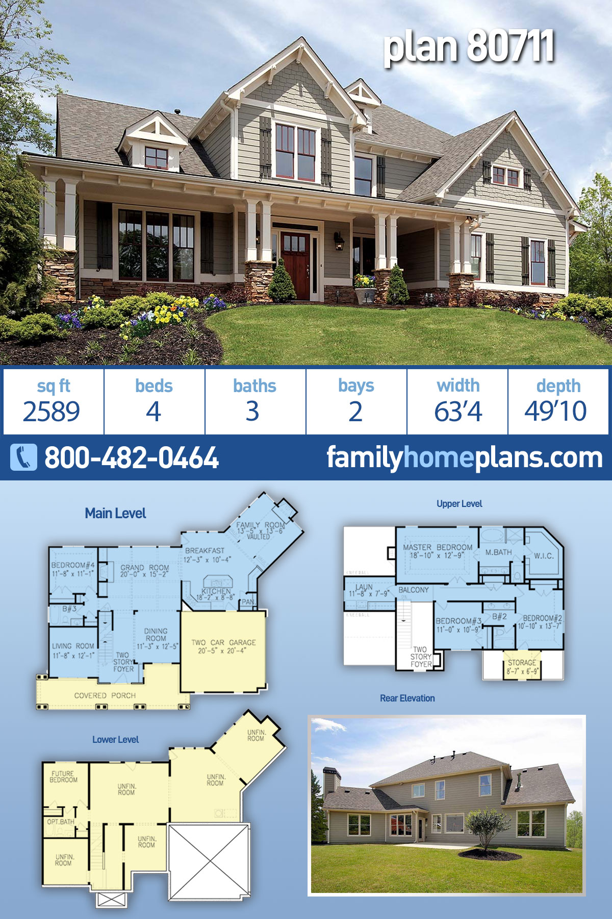 Country, Farmhouse, Southern, Traditional House Plan 80711 with 4 Beds, 3 Baths, 2 Car Garage