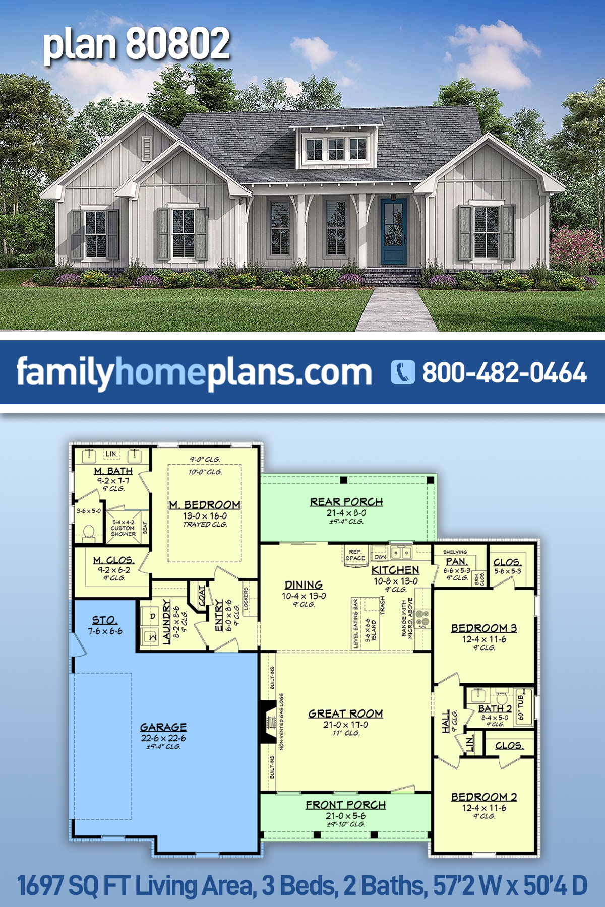 Cottage, Country, Farmhouse House Plan 80802 with 3 Beds, 2 Baths, 2 Car Garage
