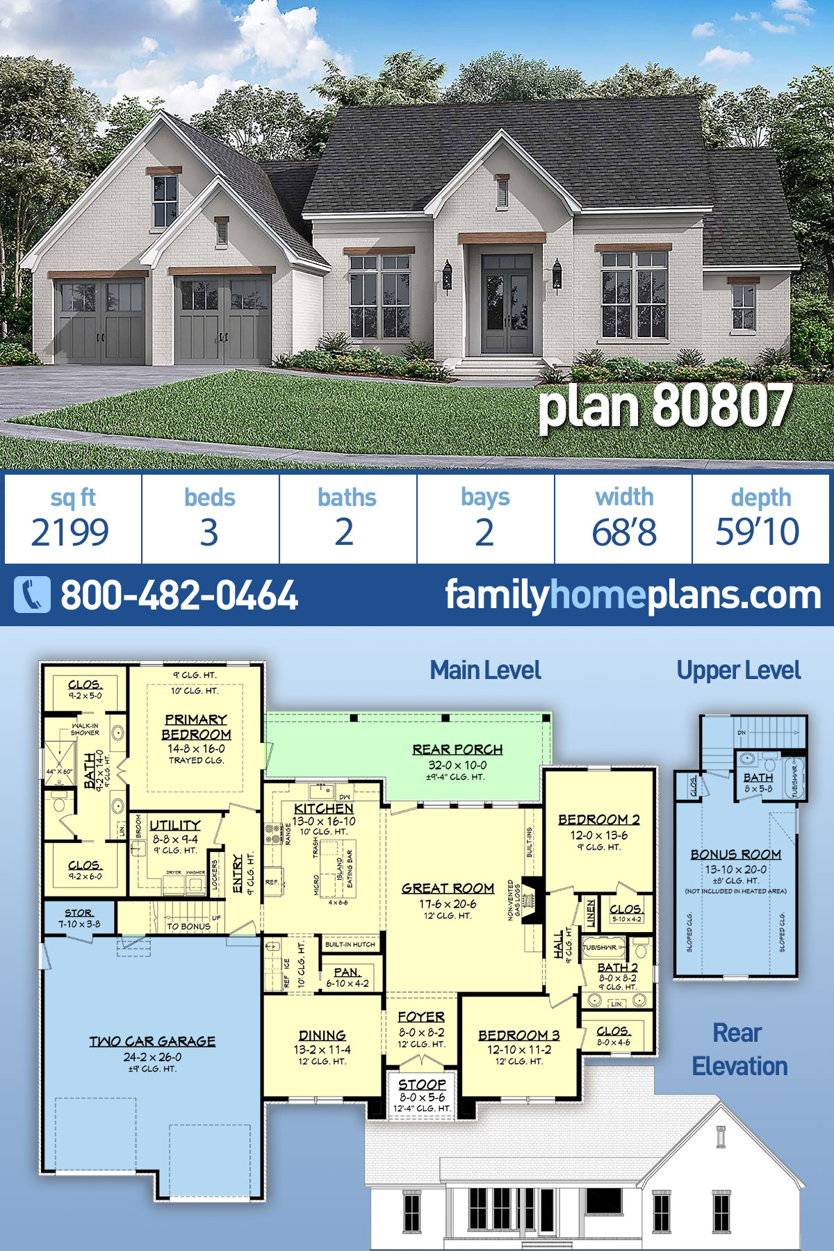 Farmhouse, French Country House Plan 80807 with 3 Beds, 2 Baths, 2 Car Garage