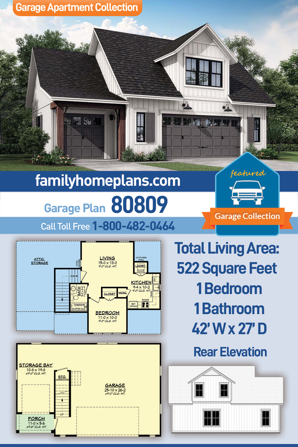 Country, Craftsman, Farmhouse 3 Car Garage Apartment Plan 80809 with 1 Beds, 1 Baths