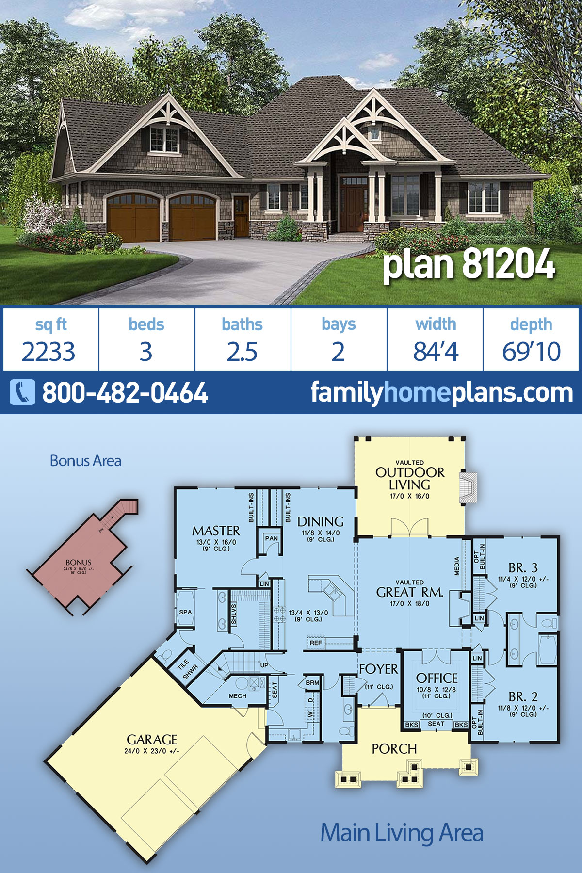 Country, Craftsman House Plan 81204 with 3 Beds, 3 Baths, 2 Car Garage