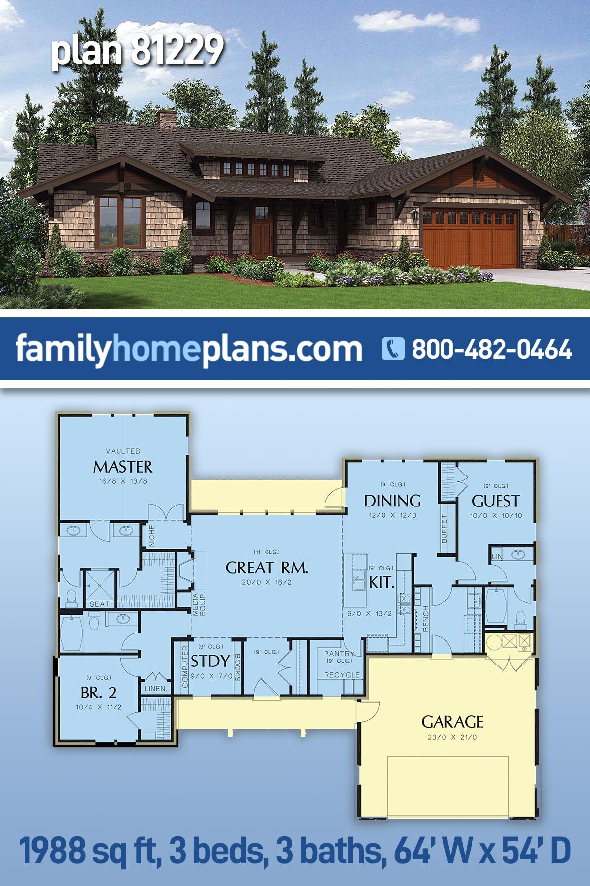 Bungalow, Craftsman House Plan 81229 with 3 Beds, 3 Baths, 2 Car Garage