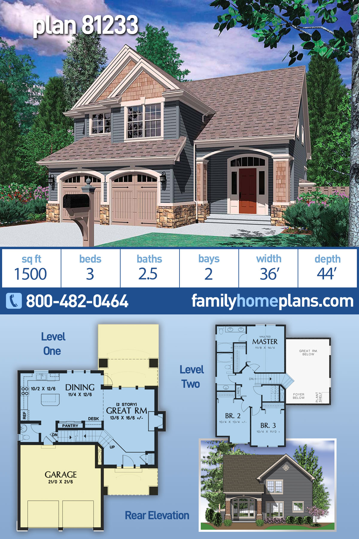 Craftsman , Traditional House Plan 81233 with 3 Beds, 3 Baths, 2 Car Garage