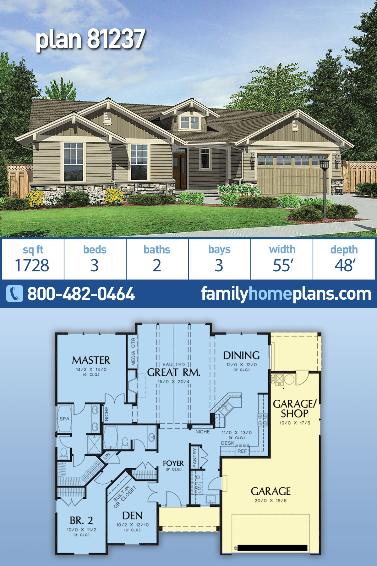 Craftsman House Plan 81237 with 2 Beds, 2 Baths, 3 Car Garage