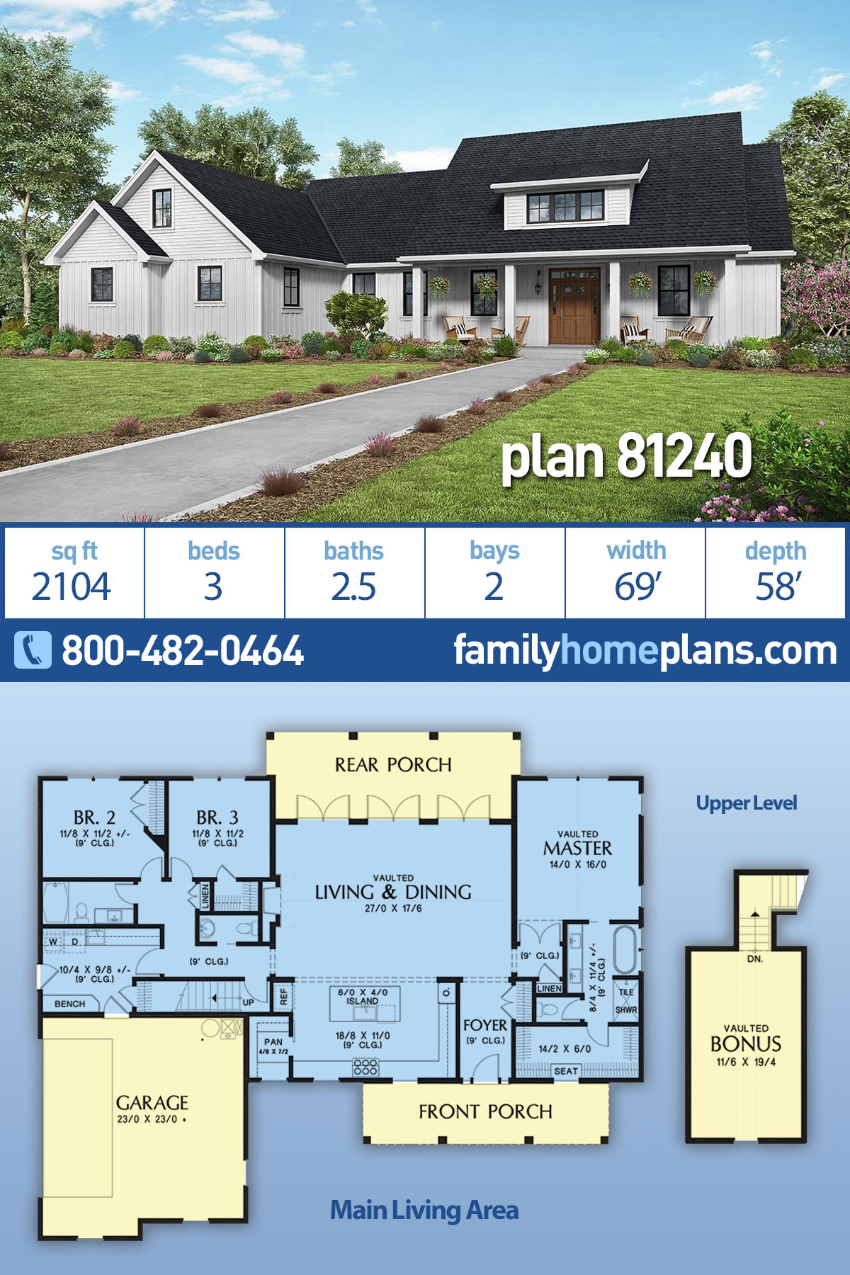 Contemporary , Country , Farmhouse , Southern House Plan 81240 with 3 Beds, 3 Baths, 2 Car Garage