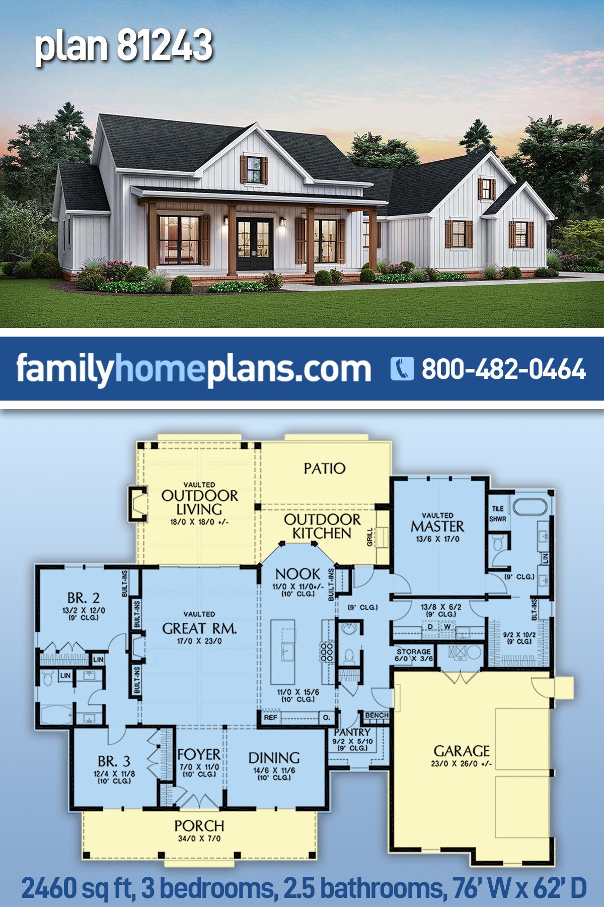 Cottage, Country, Farmhouse, Ranch House Plan 81243 with 3 Beds, 3 Baths, 2 Car Garage