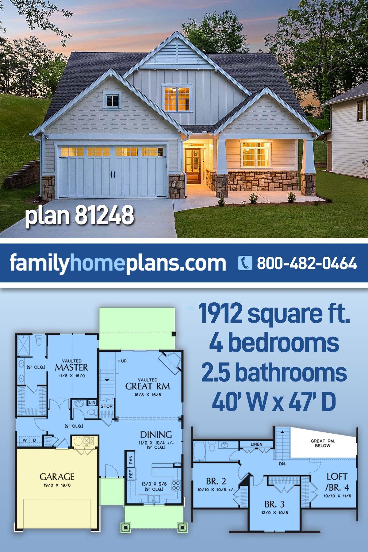 Bungalow, Craftsman House Plan 81248 with 4 Beds, 3 Baths, 2 Car Garage