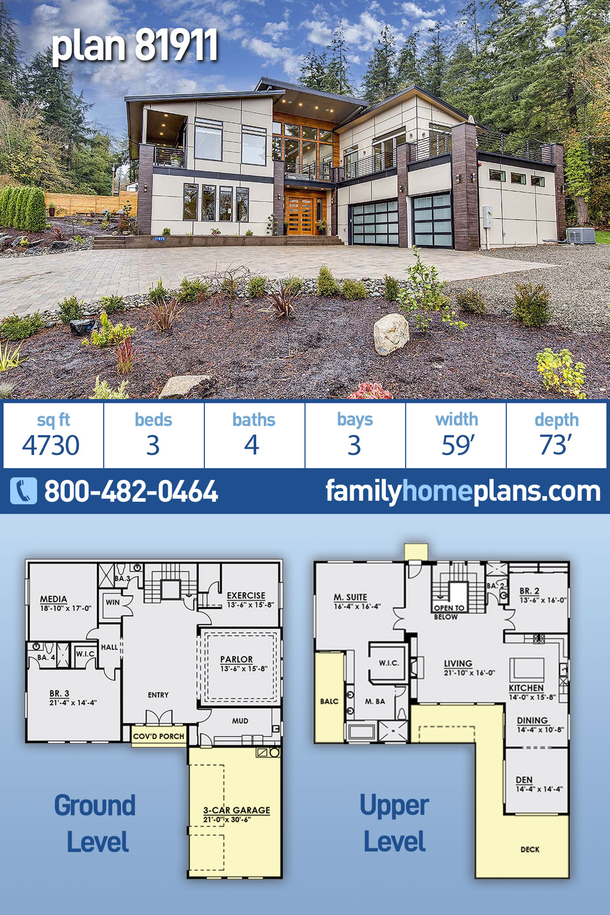 Contemporary, Modern House Plan 81911 with 3 Beds, 4 Baths, 3 Car Garage