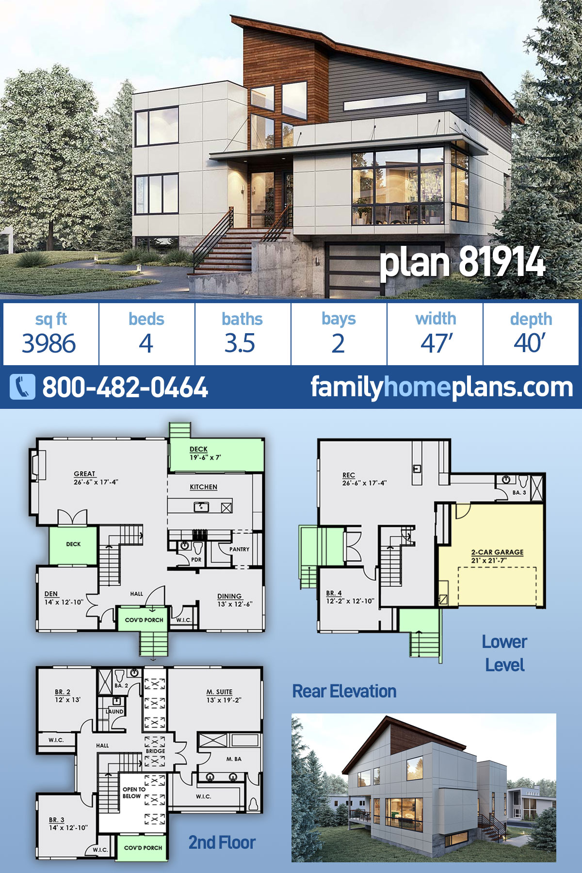 Modern House Plan 81914 with 4 Beds, 4 Baths, 2 Car Garage