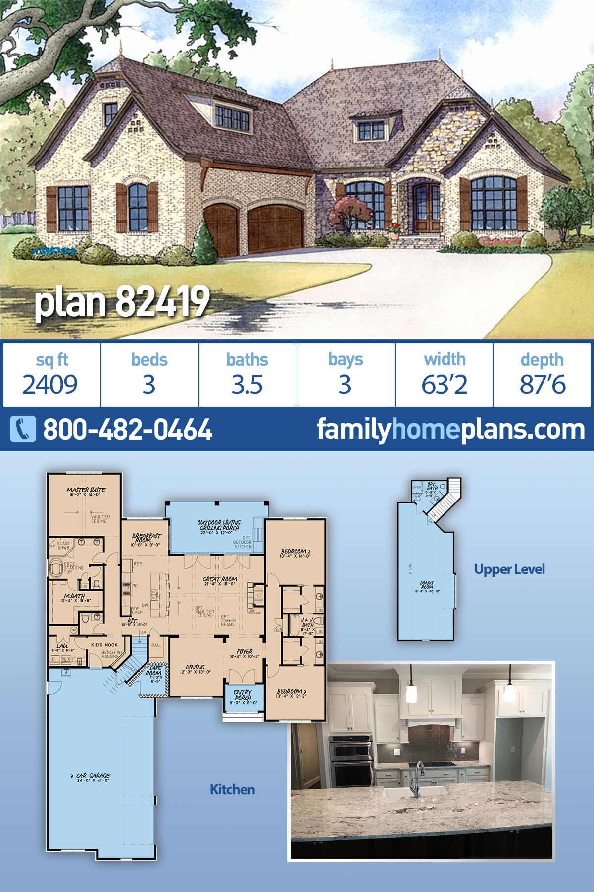 European, French Country House Plan 82419 with 3 Beds, 4 Baths, 3 Car Garage