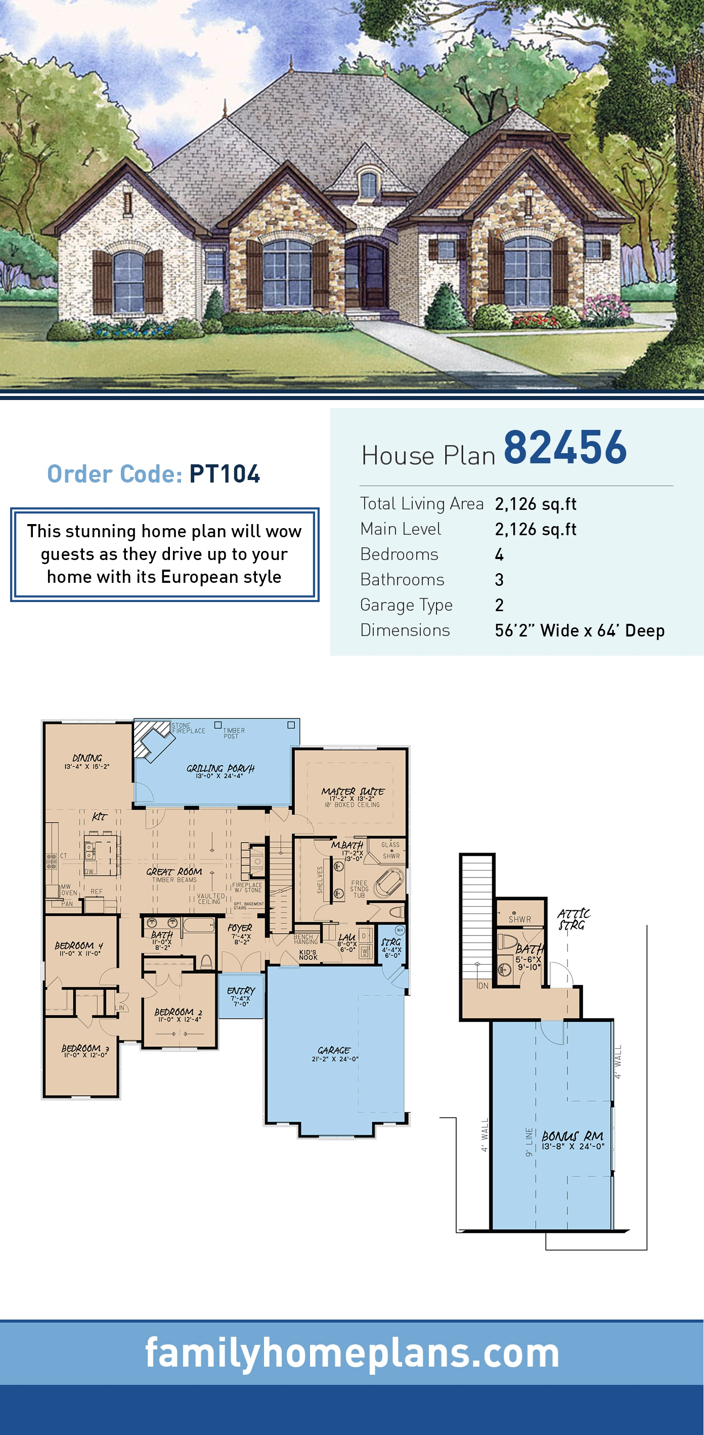 European, Traditional House Plan 82456 with 4 Beds, 3 Baths, 2 Car Garage