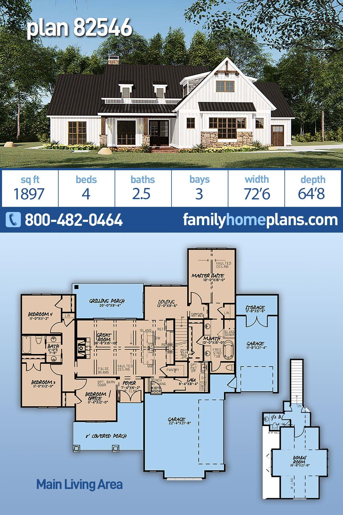 Bungalow, Craftsman, Farmhouse House Plan 82546 with 4 Beds, 3 Baths, 3 Car Garage