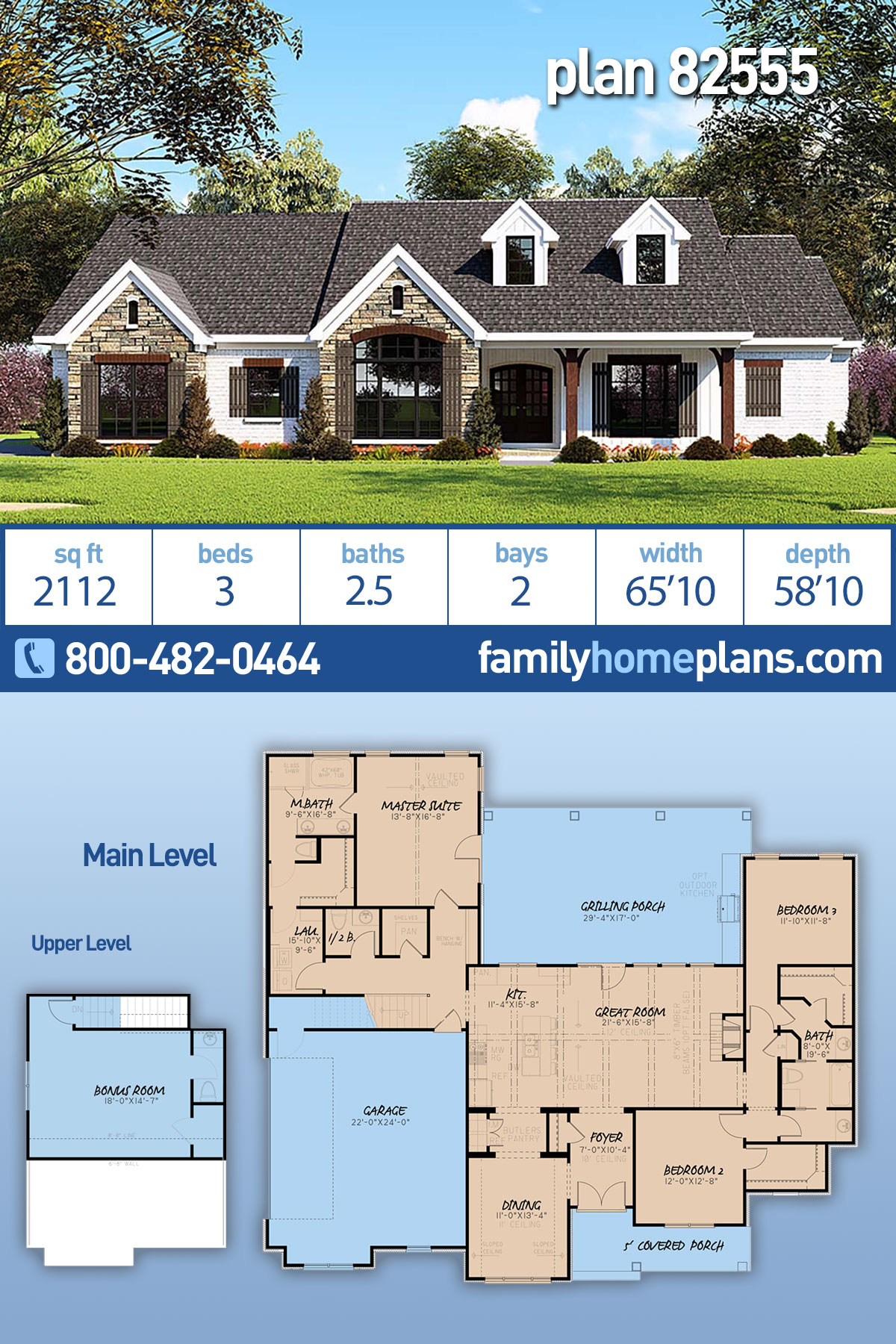 Farmhouse, One-Story, Ranch, Traditional House Plan 82555 with 3 Beds, 3 Baths, 2 Car Garage