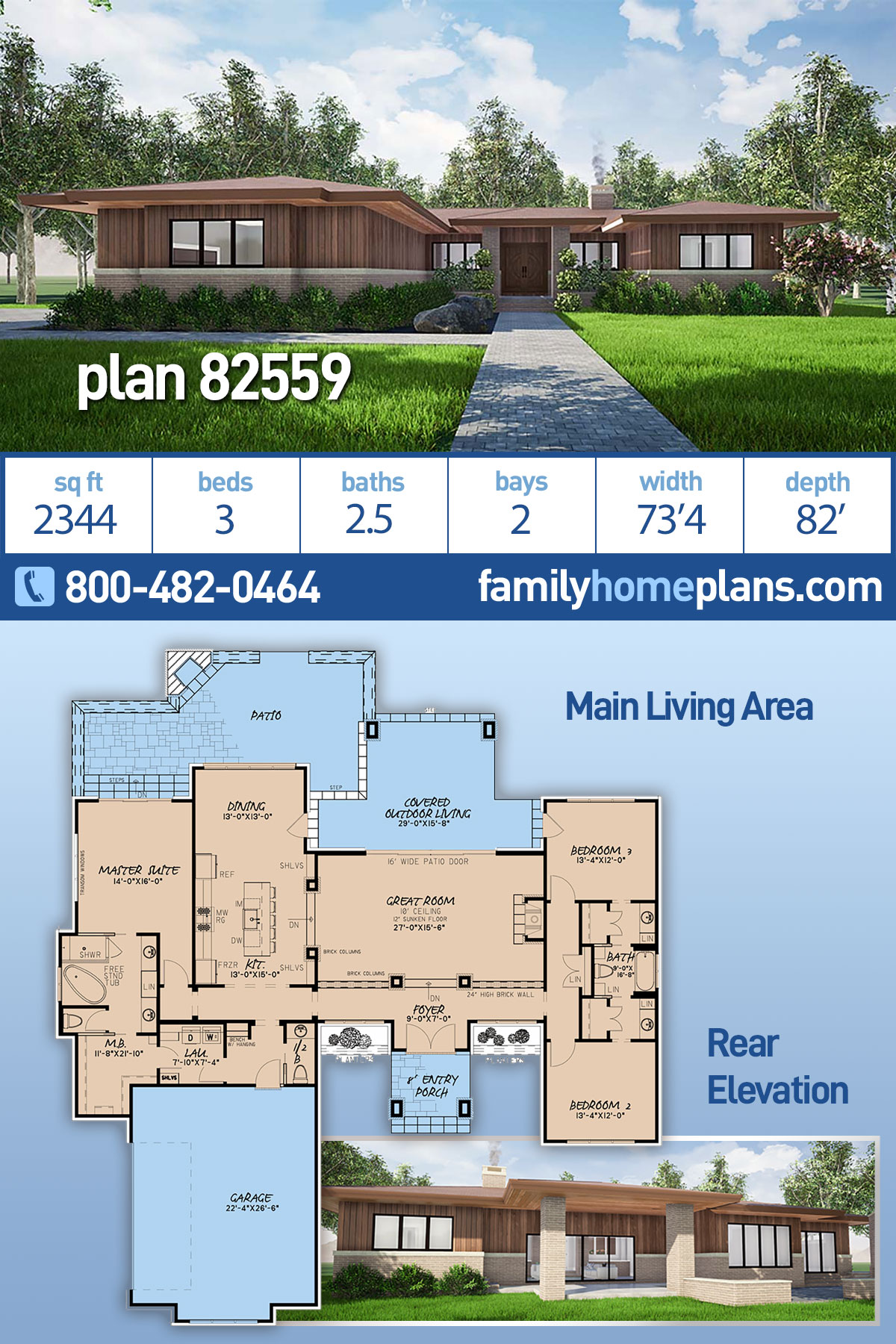 Contemporary, One-Story, Prairie House Plan 82559 with 3 Beds, 3 Baths, 2 Car Garage