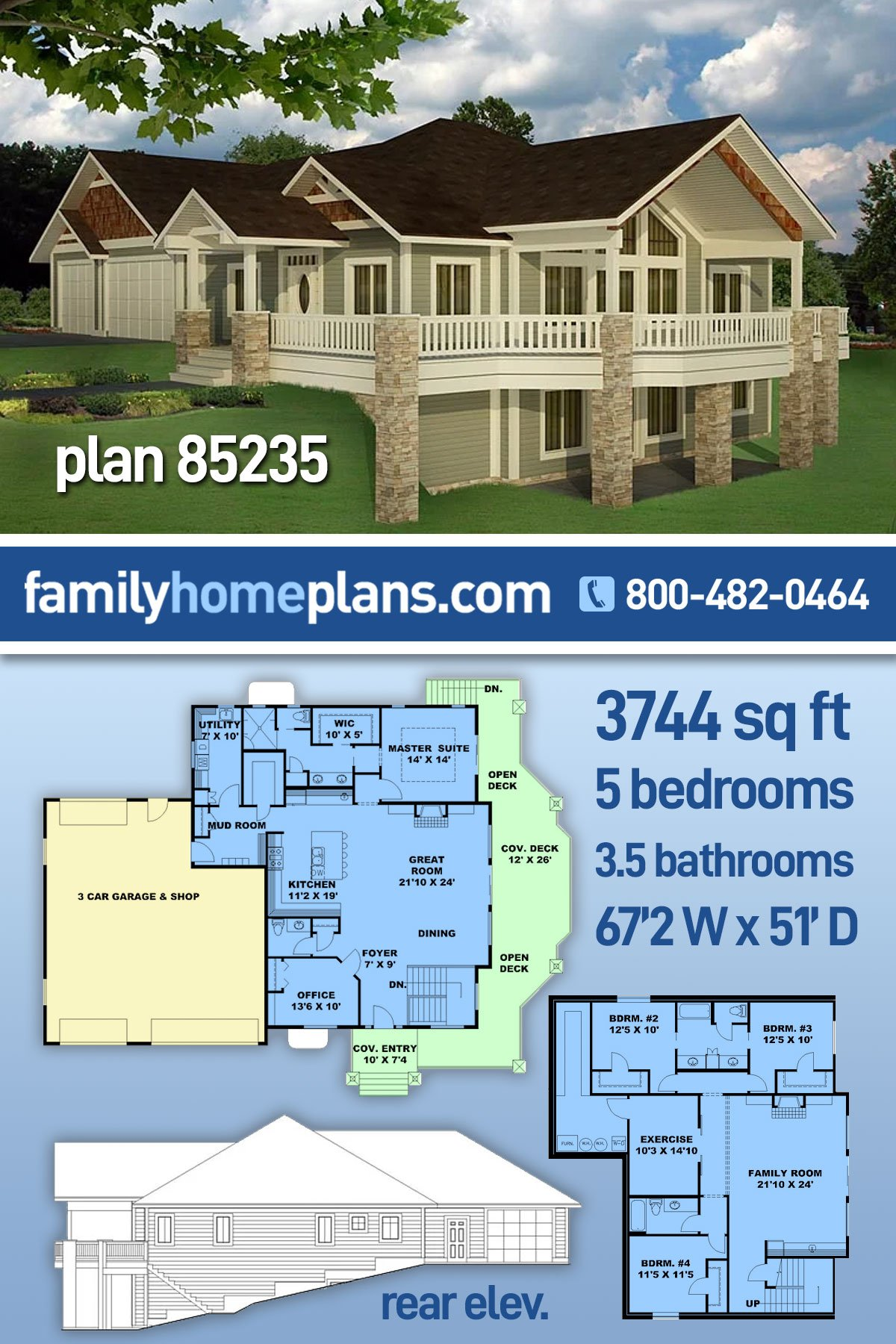 Bungalow, Contemporary, Craftsman, Traditional House Plan 85235 with 5 Beds, 4 Baths, 3 Car Garage