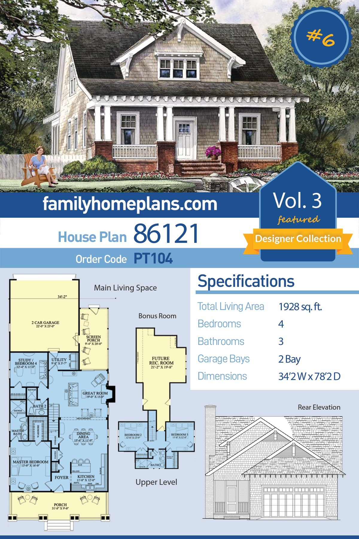 Bungalow, Cottage, Craftsman, Farmhouse House Plan 86121 with 4 Beds, 3 Baths, 2 Car Garage