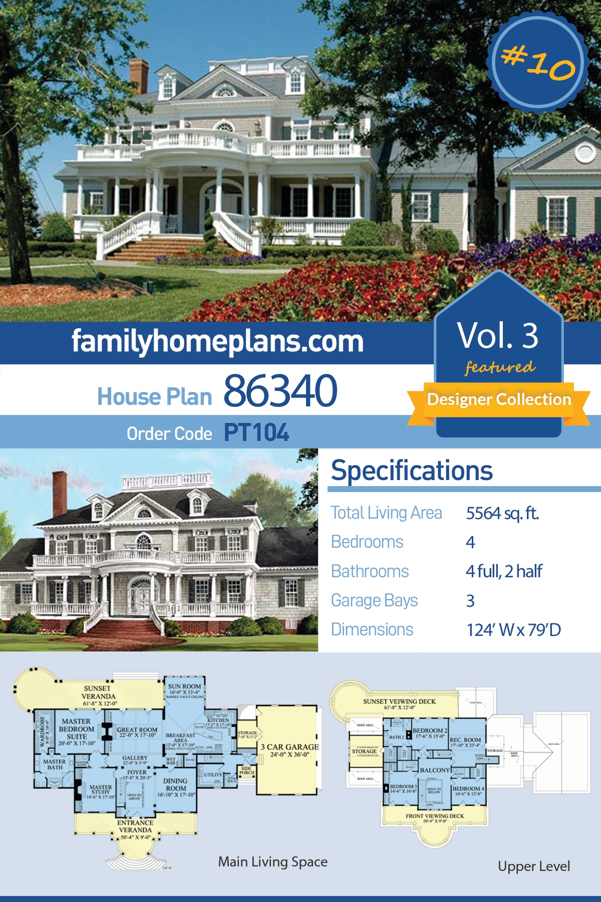 Plantation, Southern House Plan 86340 with 4 Beds, 6 Baths, 3 Car Garage