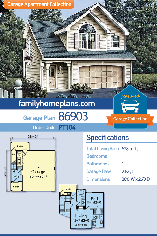 Country, European, Traditional Garage-Living Plan 86903 with 1 Beds, 1 Baths, 2 Car Garage