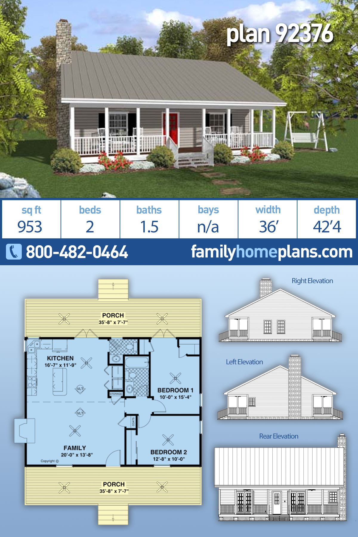Cabin, Country, Ranch House Plan 92376 with 2 Beds, 2 Baths