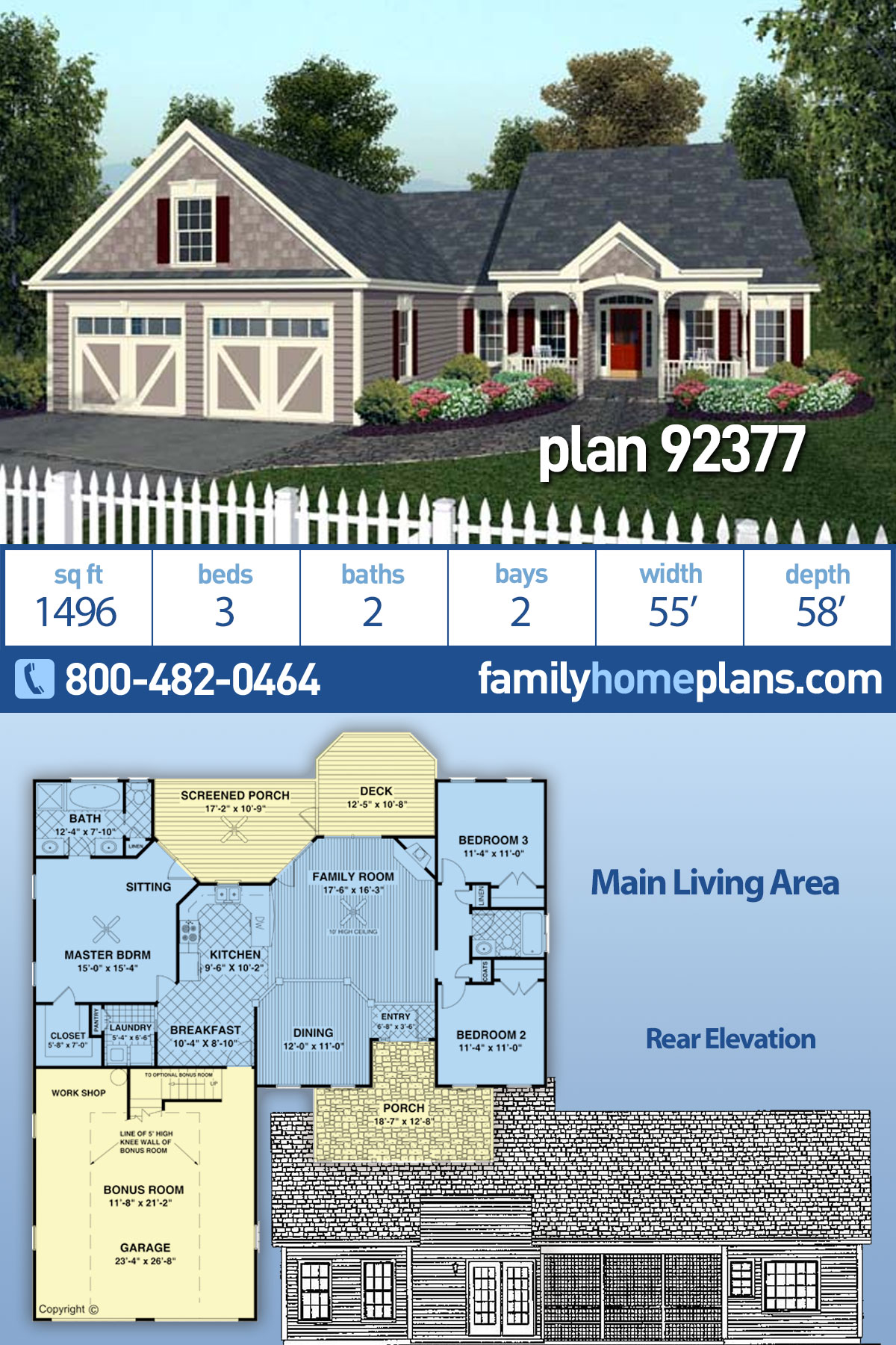 Country, European, Traditional House Plan 92377 with 3 Beds, 2 Baths, 2 Car Garage