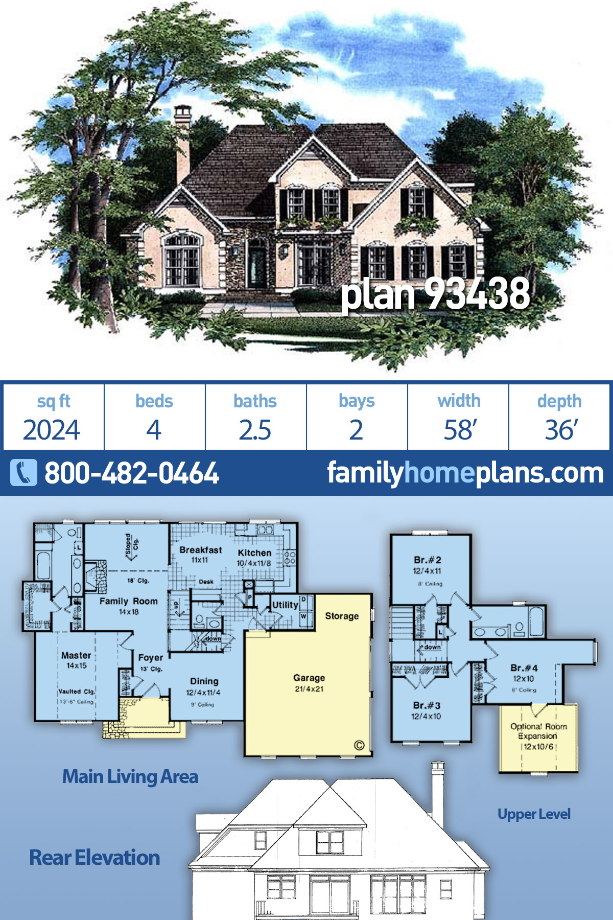 European House Plan 93438 with 4 Beds, 3 Baths, 2 Car Garage