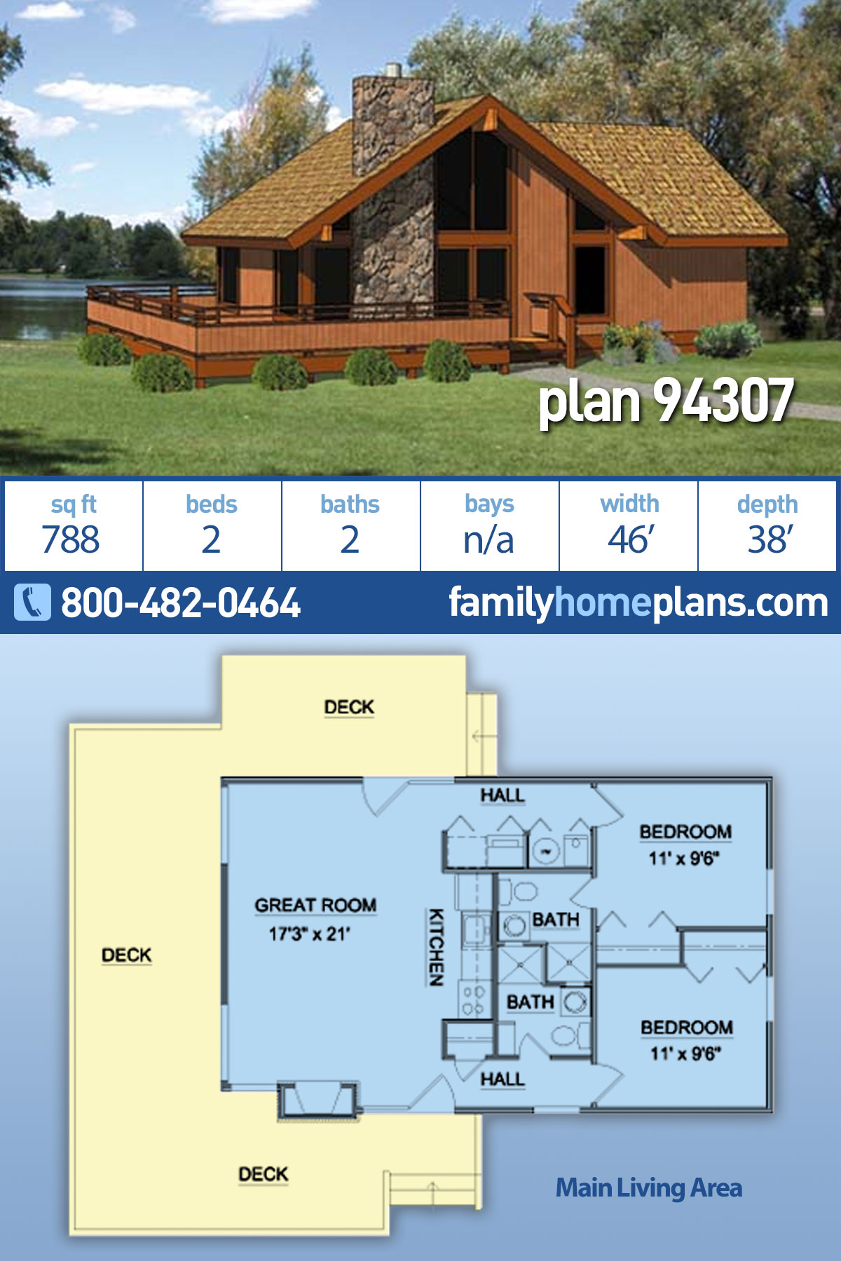 Cabin House Plan 94307 with 2 Beds, 2 Baths