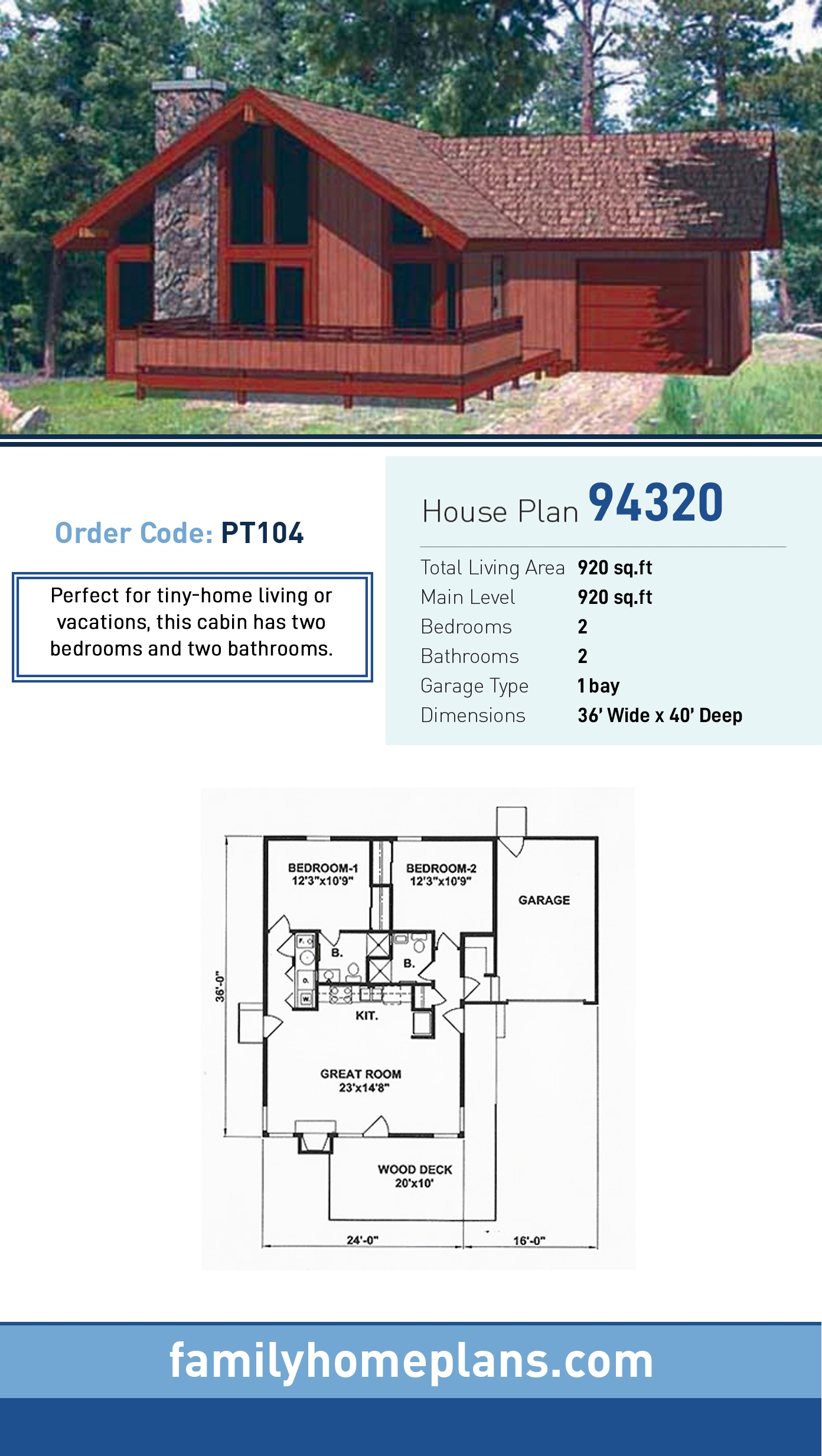 Cabin, Contemporary House Plan 94320 with 2 Beds, 2 Baths, 1 Car Garage