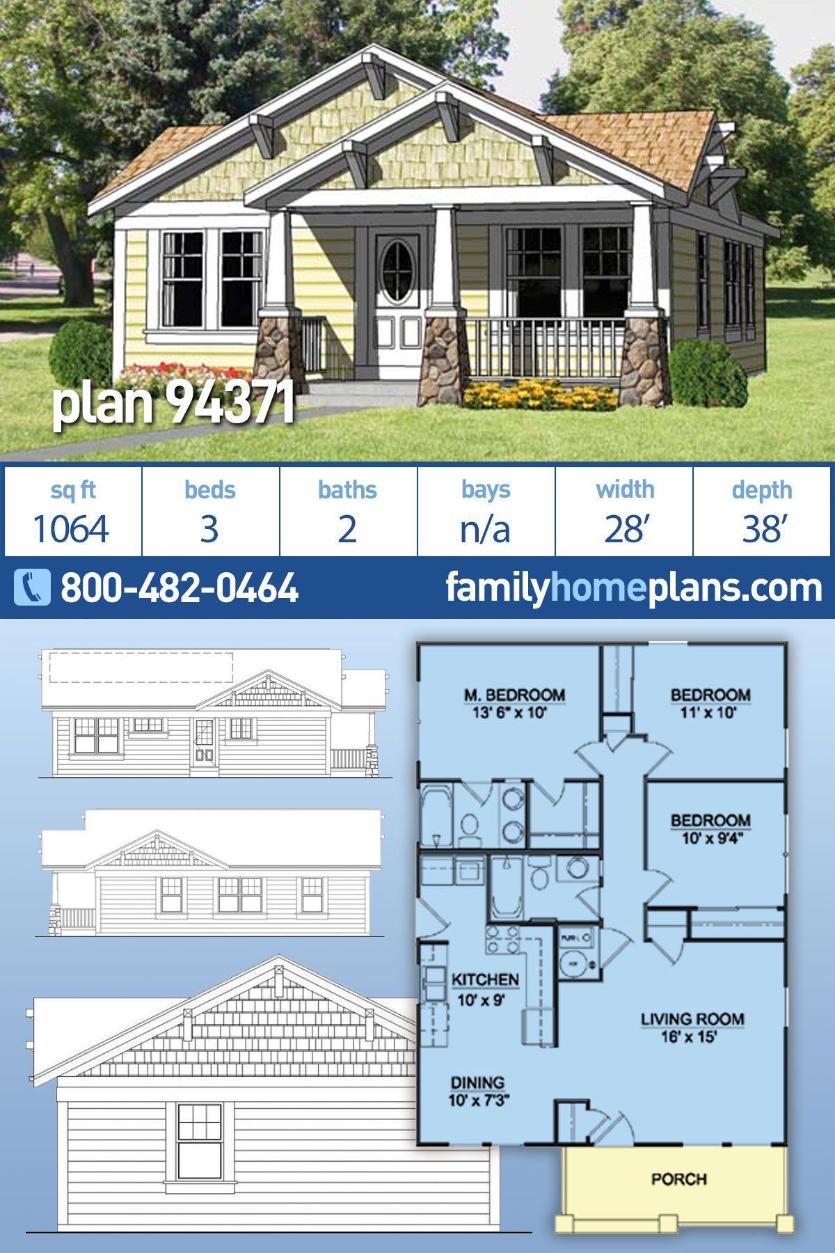 Cottage, Country, Craftsman House Plan 94371 with 3 Beds, 2 Baths