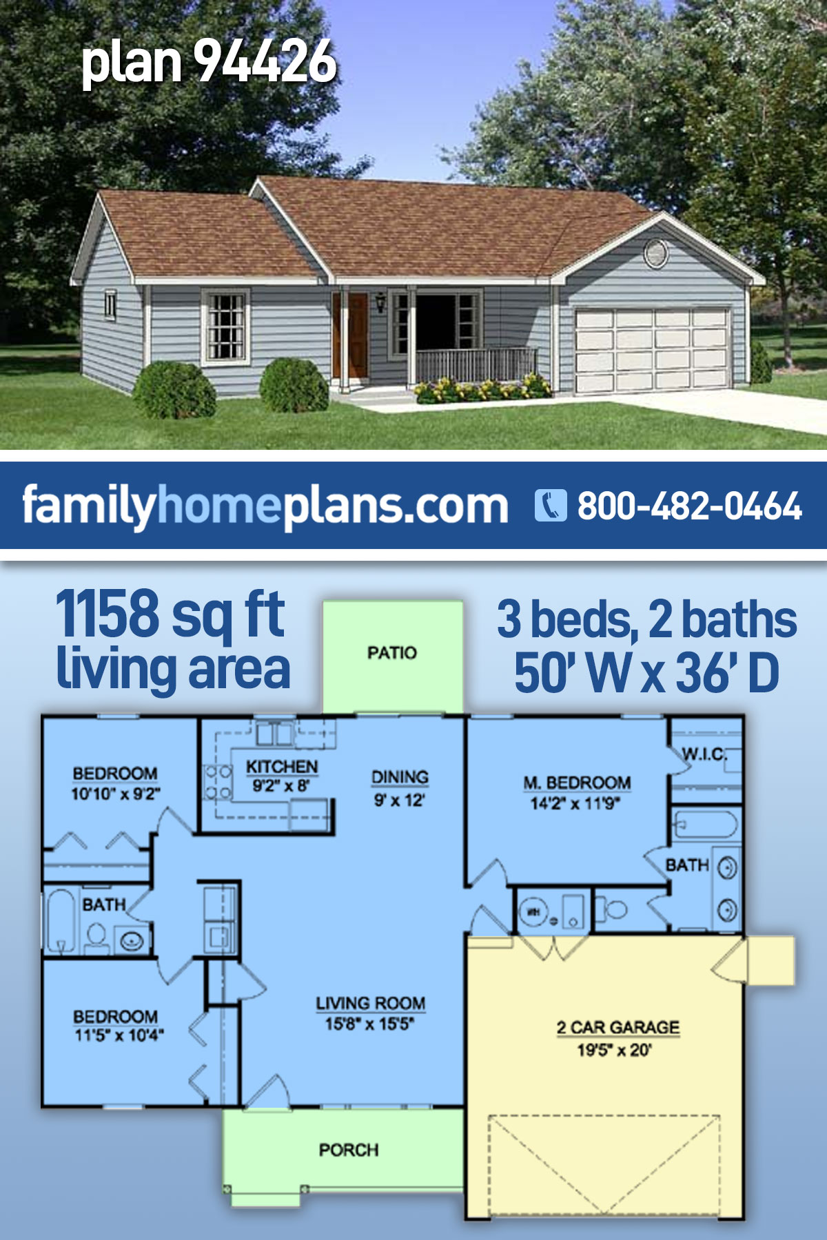 Ranch House Plan 94426 with 3 Beds, 2 Baths, 2 Car Garage