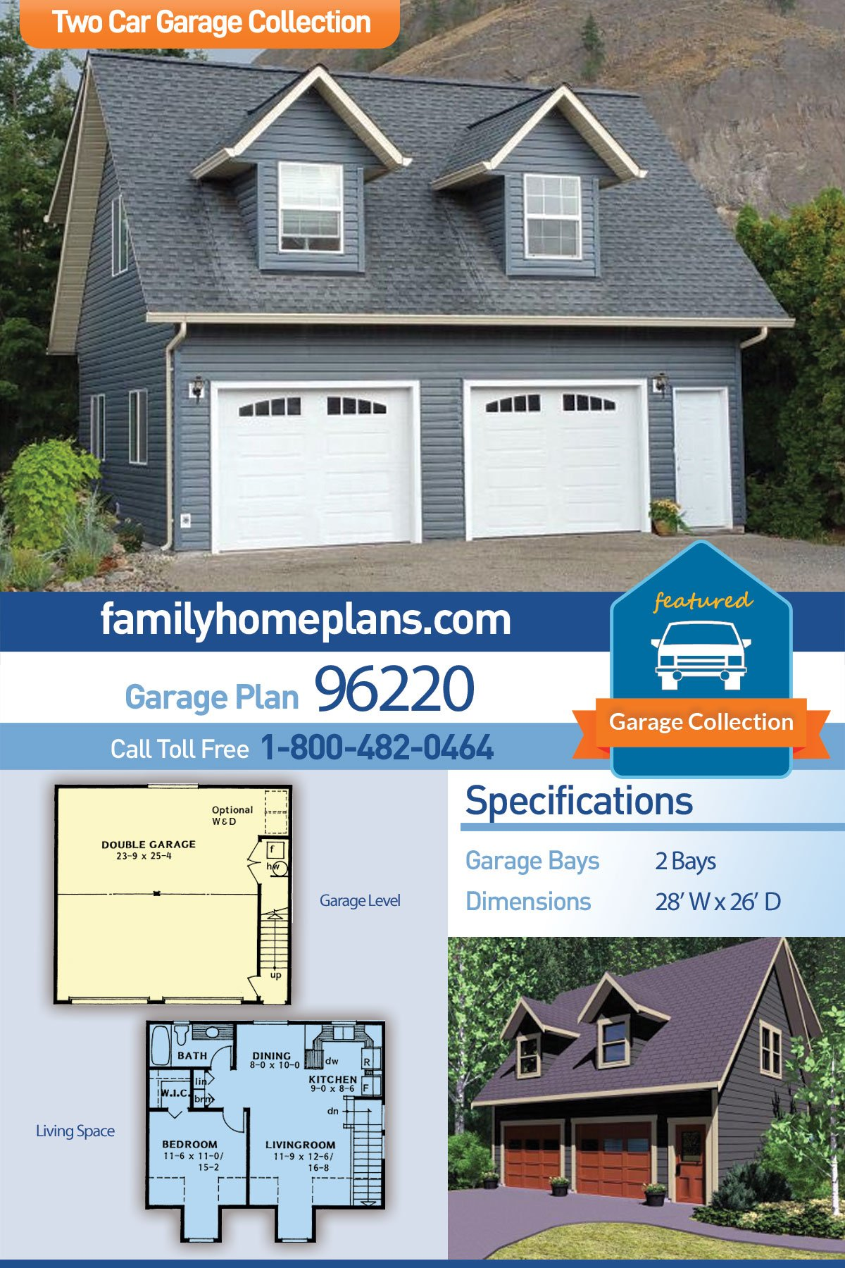 Cape Cod, Traditional 2 Car Garage Apartment Plan 96220 with 1 Beds, 1 Baths