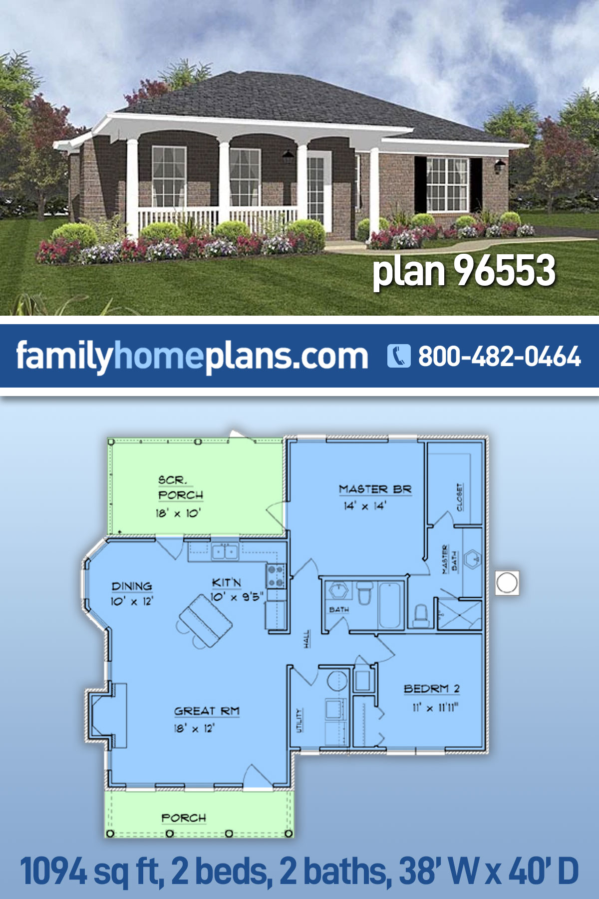 Traditional House Plan 96553 with 2 Beds, 2 Baths