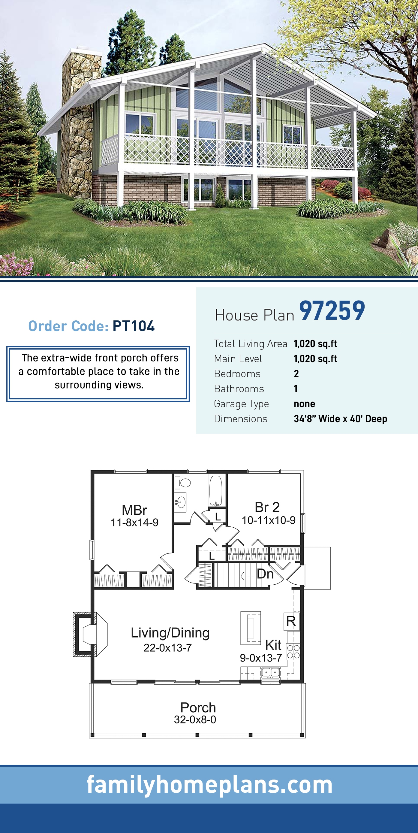 Bungalow, Contemporary, Country, Traditional House Plan 97259 with 2 Beds, 1 Baths