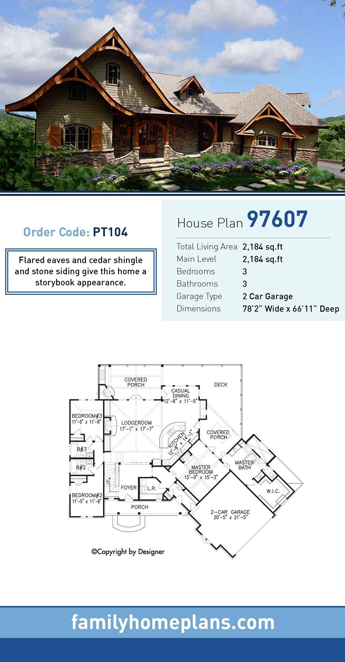 Cottage, Country, Craftsman, European, Tudor House Plan 97607 with 3 Beds, 3 Baths, 2 Car Garage