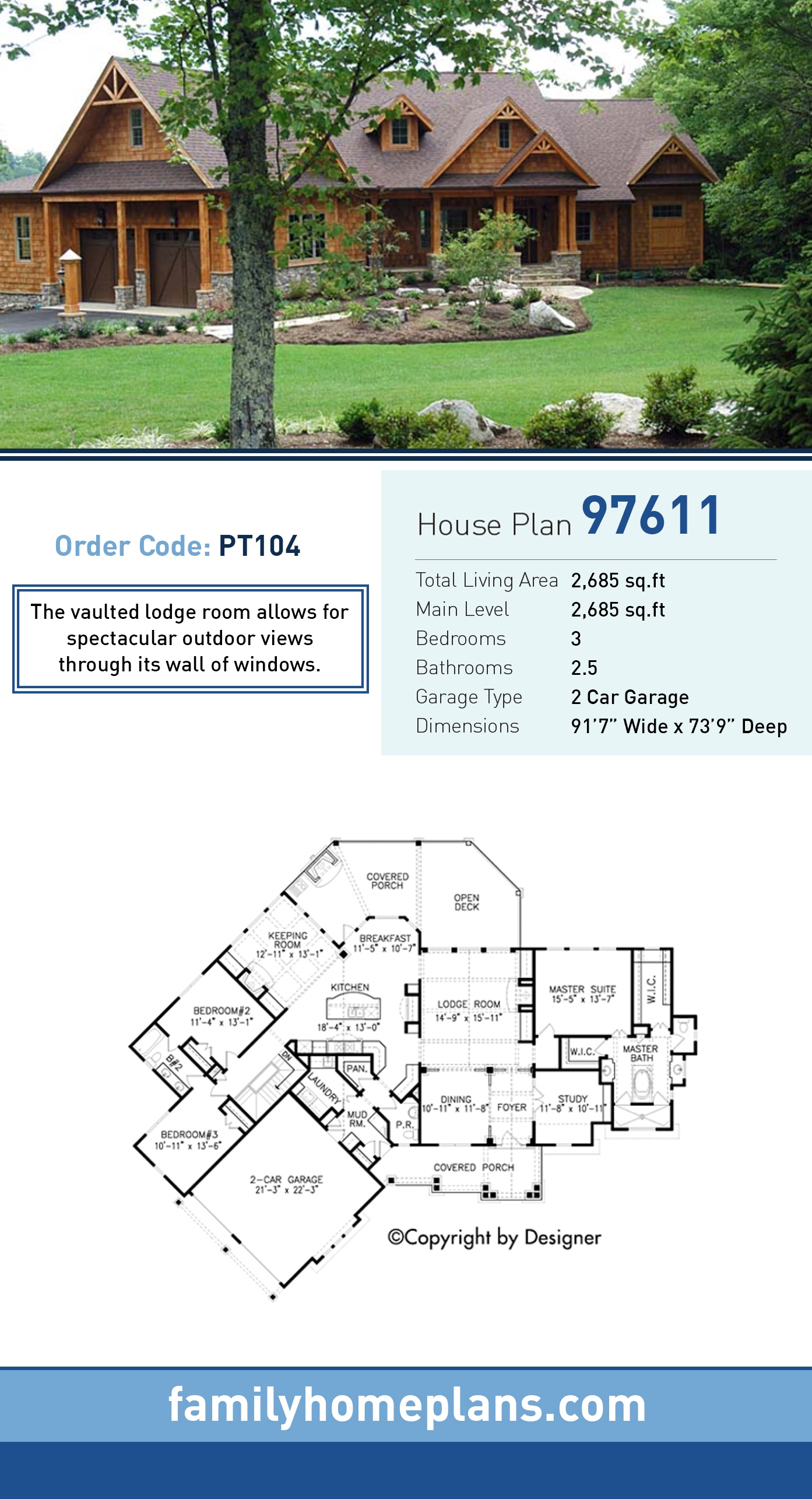 Cottage, Country, Craftsman, Southern, Traditional House Plan 97611 with 3 Beds, 3 Baths, 2 Car Garage