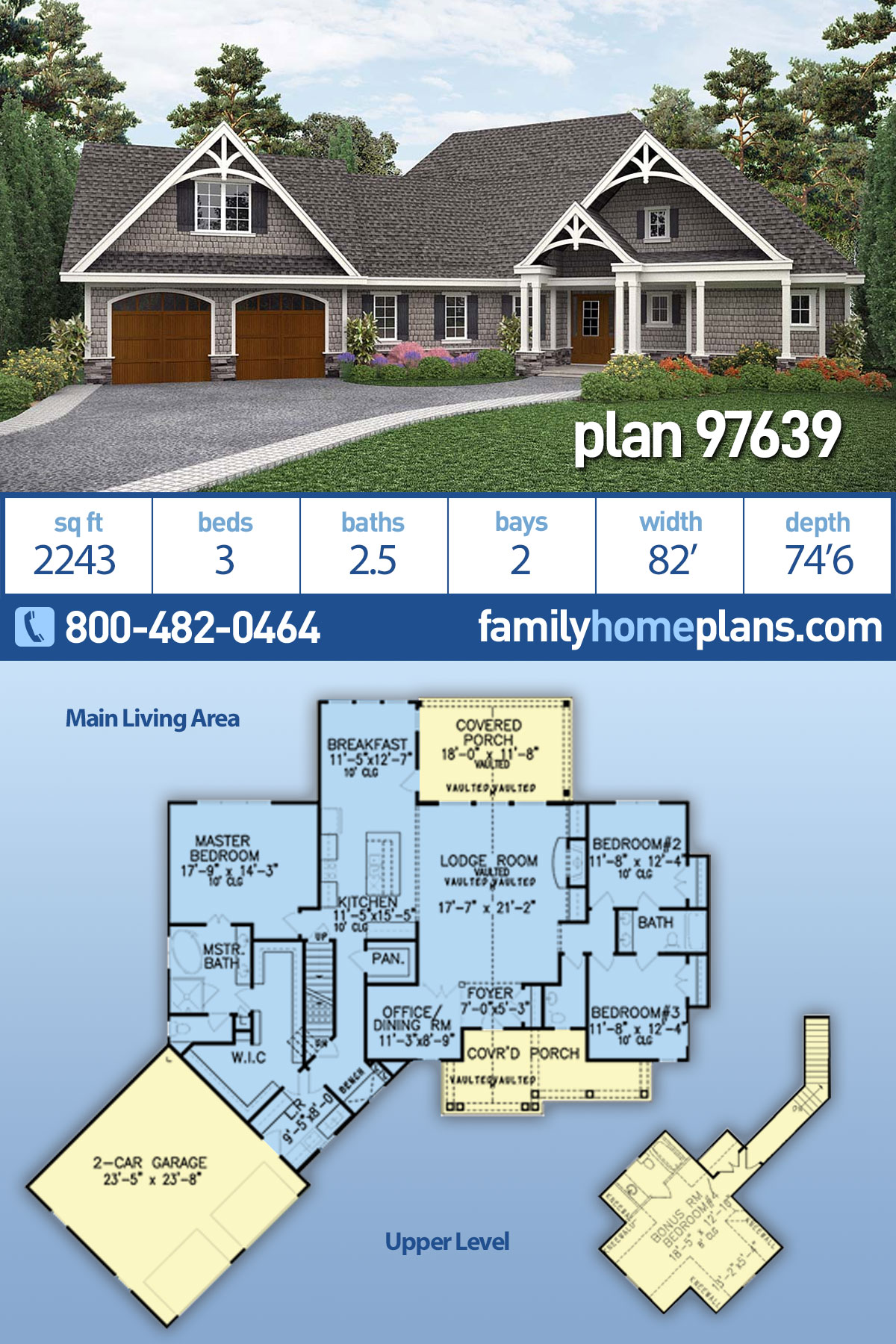 Country, Craftsman, Ranch House Plan 97639 with 3 Beds, 3 Baths, 2 Car Garage