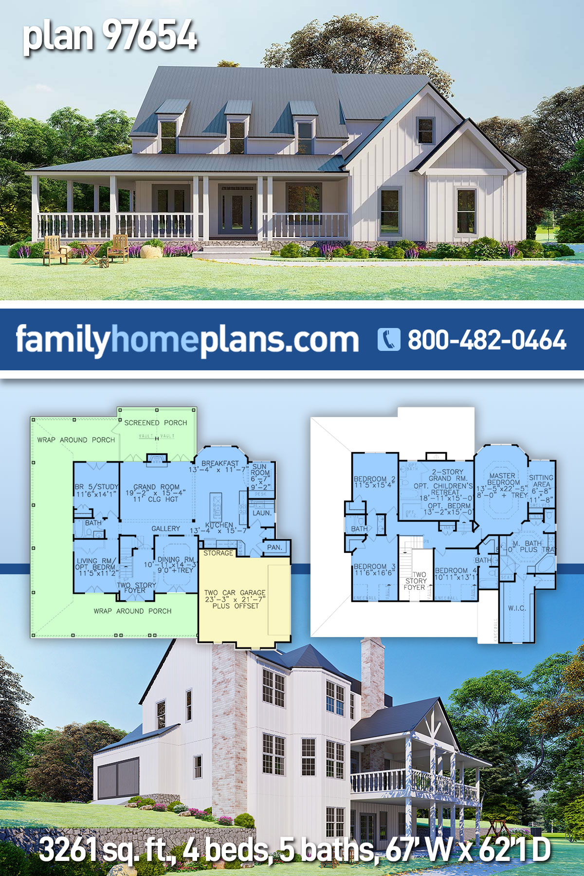 Country, Farmhouse, Ranch, Southern House Plan 97654 with 4 Beds, 5 Baths, 2 Car Garage