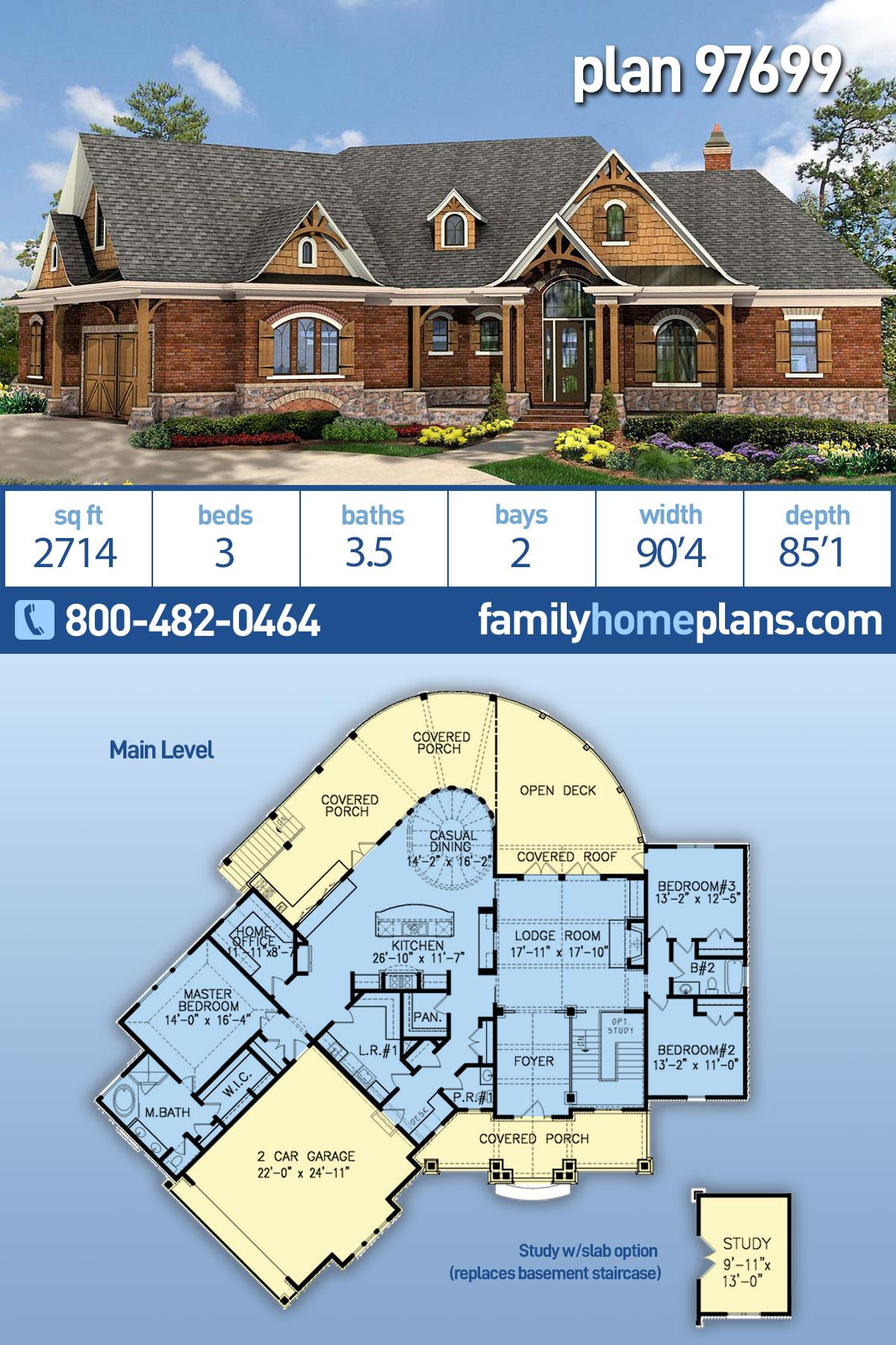 Craftsman, Ranch House Plan 97699 with 3 Beds, 4 Baths, 2 Car Garage