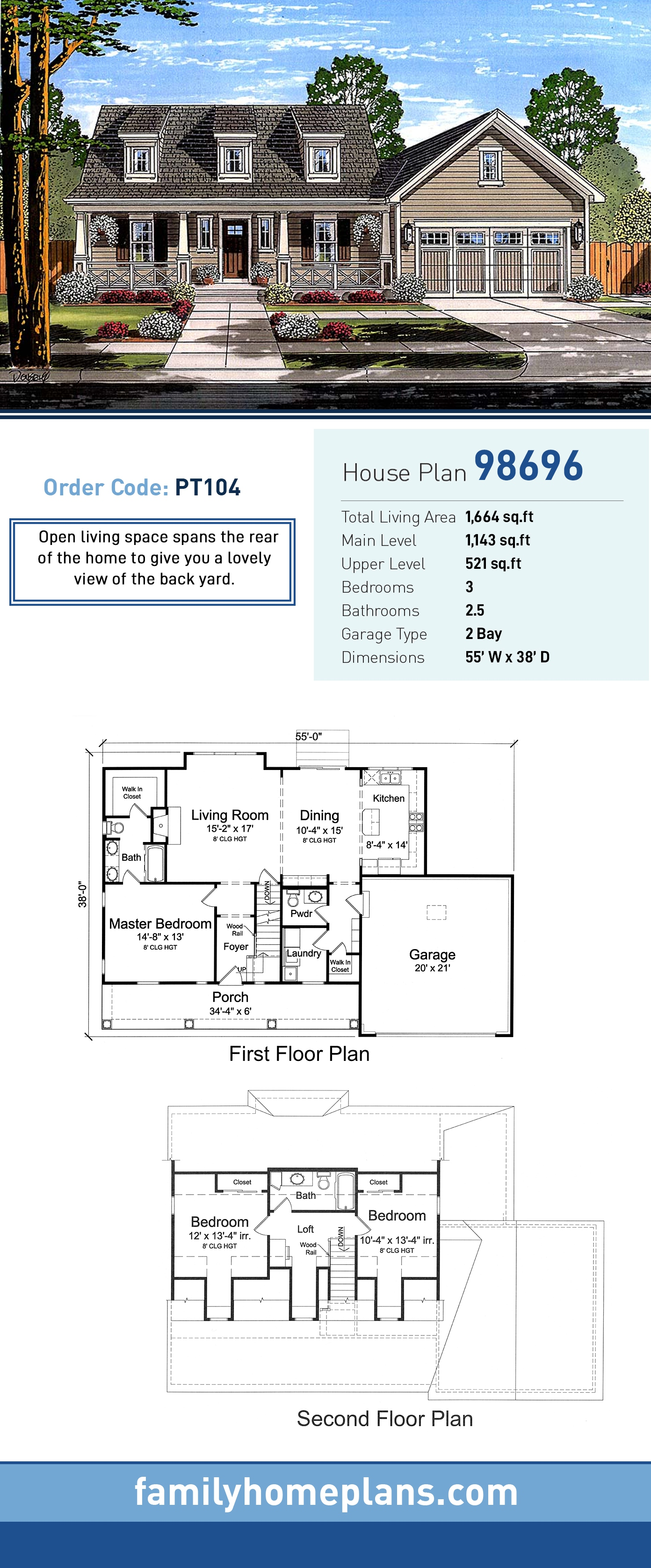 Cape Cod, Country House Plan 98696 with 3 Beds, 3 Baths, 2 Car Garage