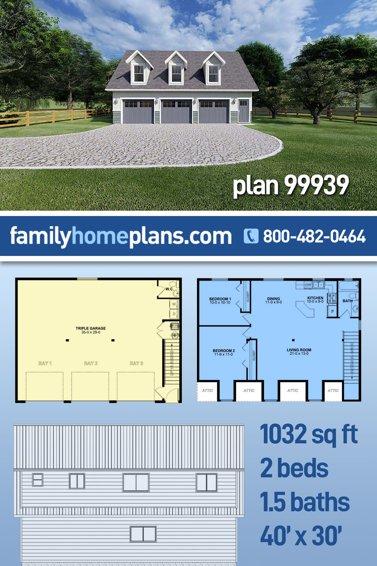 3 Car Garage Apartment Plan 99939 with 2 Beds, 2 Baths