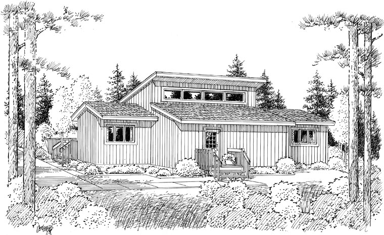 Cabin Contemporary Ranch House Plan 10220 Rear Elevation